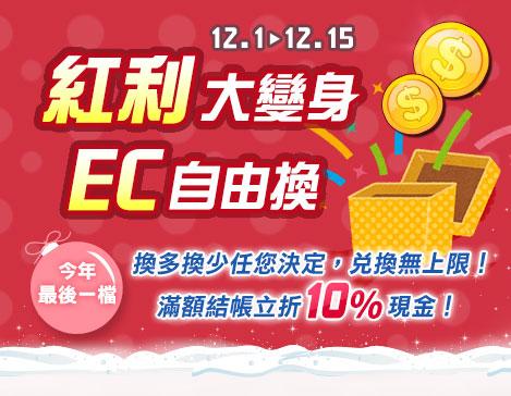 12/1-12/15會員紅利換EC兌換無上限現金立折10%!